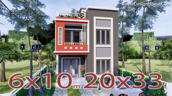 3d House Design 6x10 Meters 20x33 Feet 2 Beds