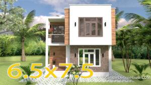 Modern House Plans 6.5x7.5m 21x25f 2 Beds