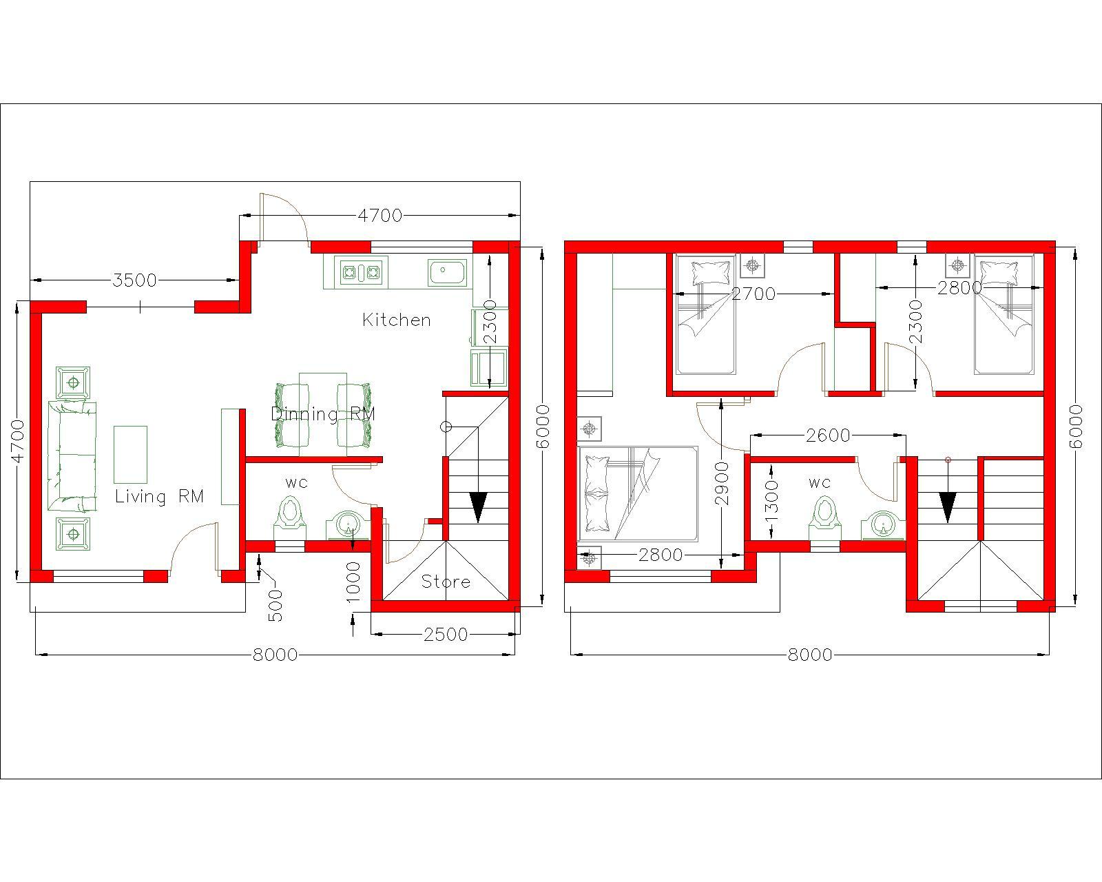 Simple House Design 8x6m with 3 Bedrooms Floor plan