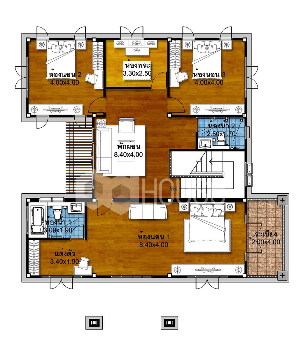 4 Bedroom House Plans 18x22 Meter 59x72 Feet first floor