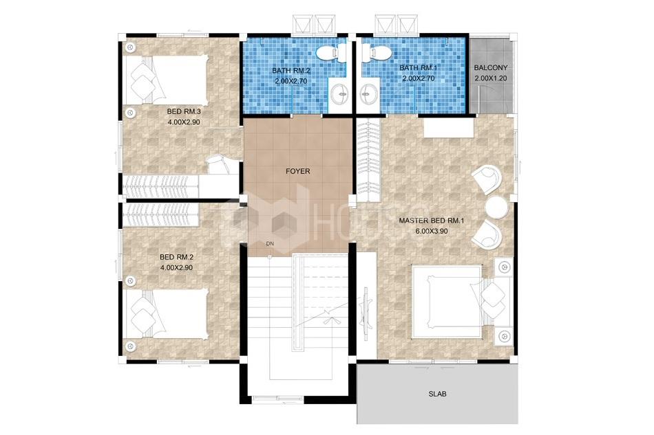 Floor Planner 13x14 meter 43x46 feet 3 Bedrooms first floor