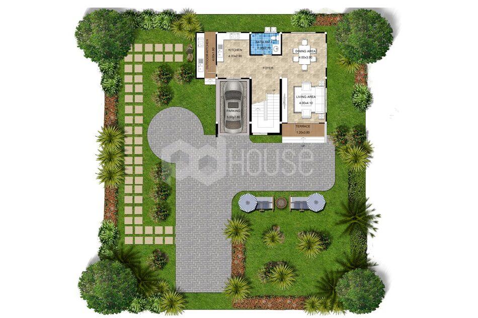 Floor Planner 13x14 meter 43x46 feet 3 Bedrooms ground floor