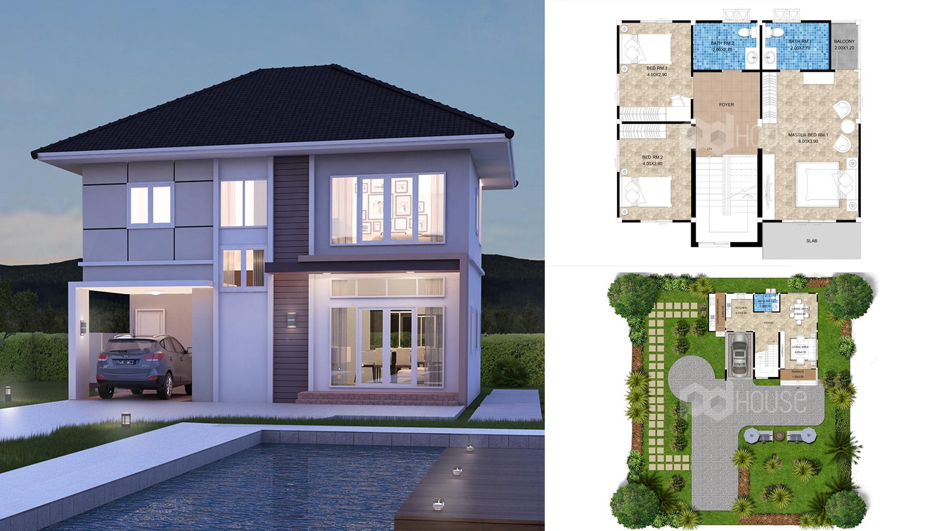Floor Planner 13×14 meter 43×46 feet 3 Bedrooms