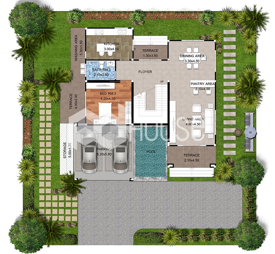 House Designs Plans 17x20 Meter 56x65 Feet 3 Bedrooms ground floor
