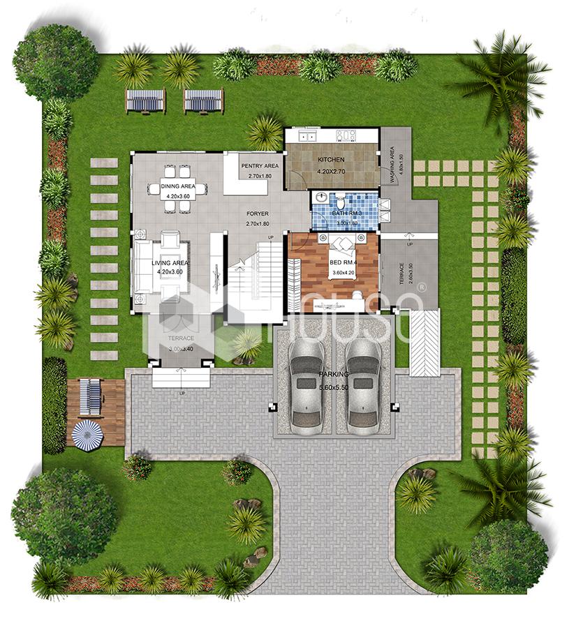 House Floor Plans 15x19 Meter 49x62 Feet 4 Bedrooms Ground floor