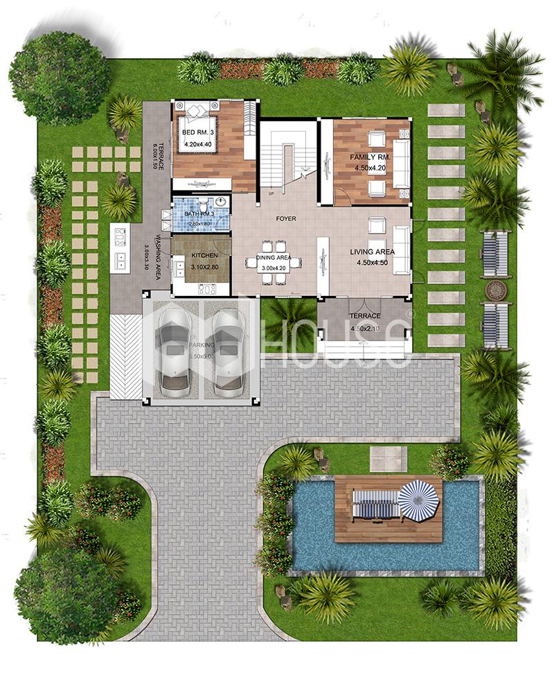 Modern House Plans 16x20 Meter 53x65 Feet 3 Bedrooms ground floor