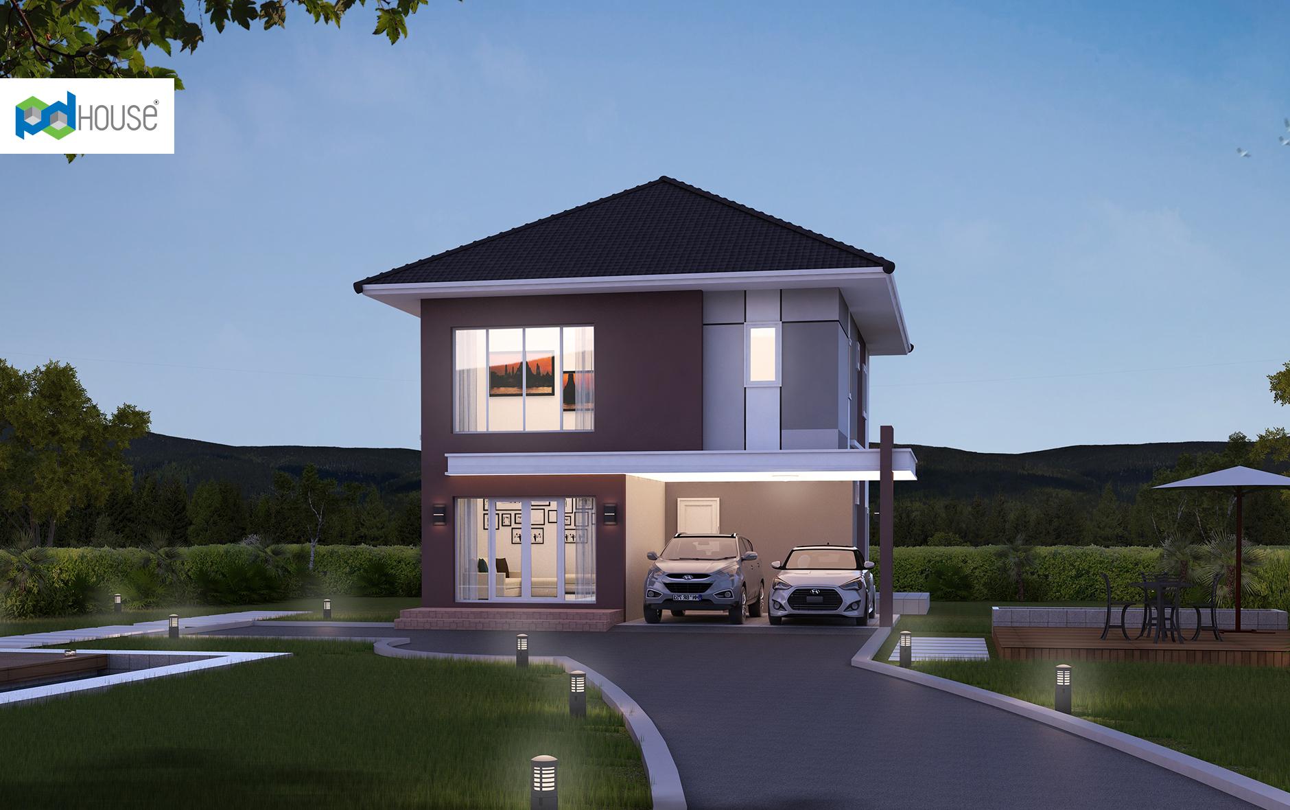 Simple House Design 13x14 meter 43x46 feet 4 Bedrooms 1