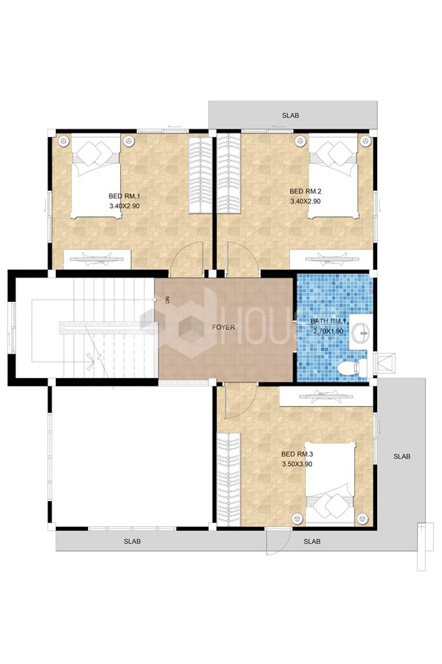 Simple House Design 13x14 meter 43x46 feet 4 Bedrooms first floor