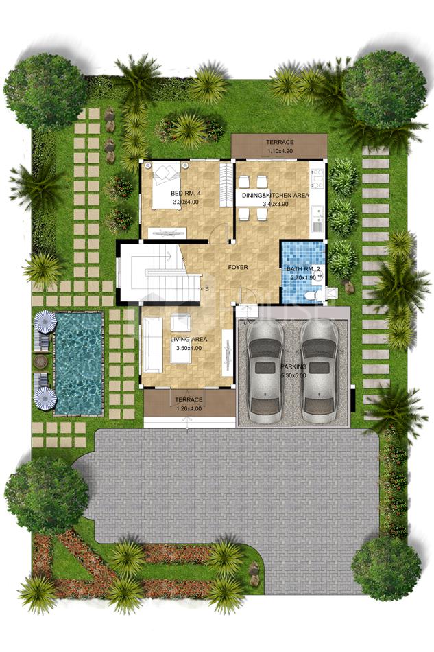 Simple House Design 13x14 meter 43x46 feet 4 Bedrooms ground floor