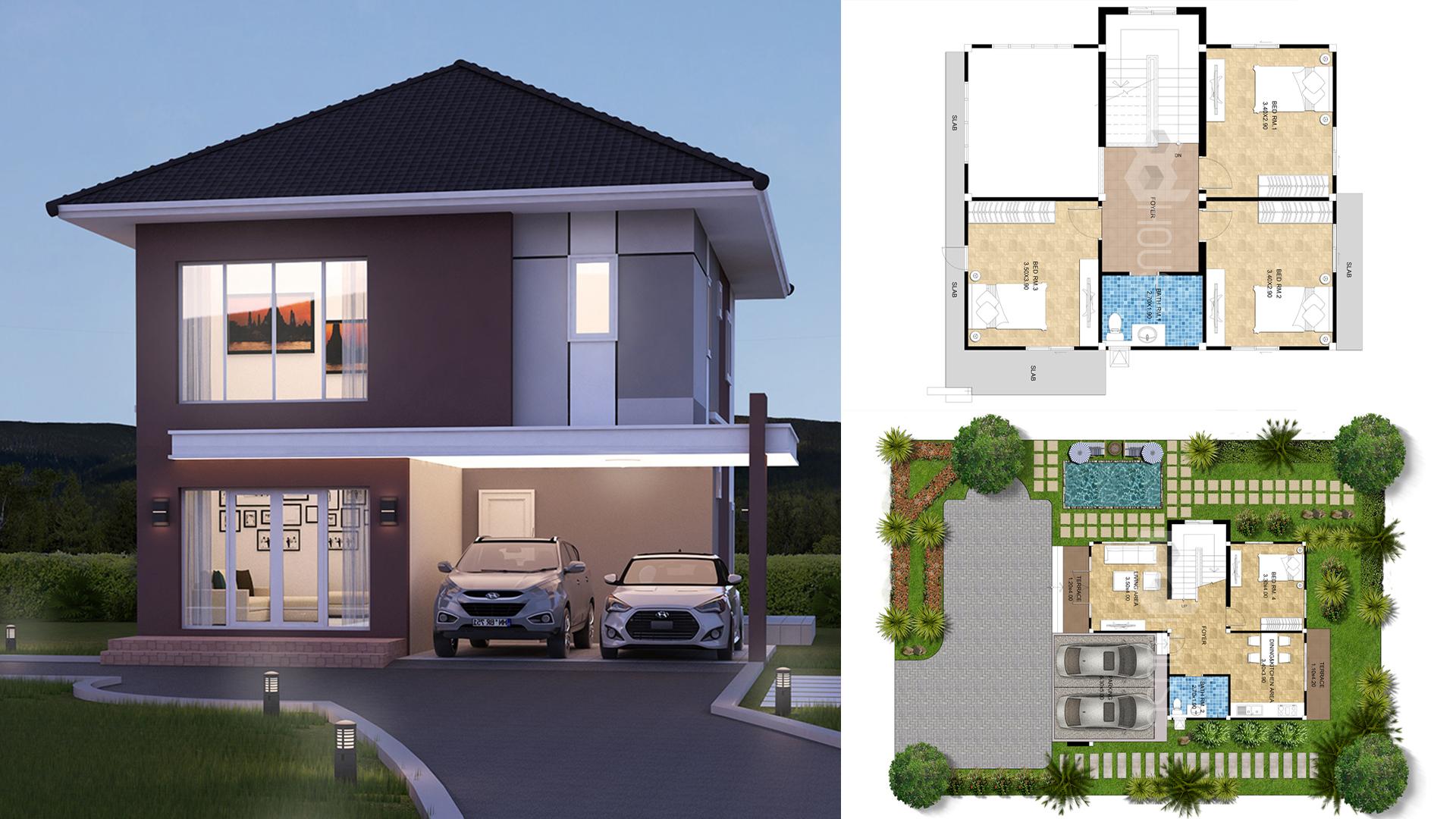 Simple House Design 13×14 meter 43×46 feet