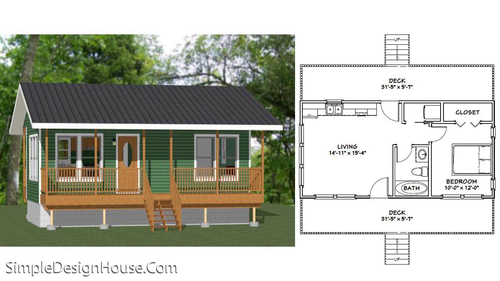 32×16 House Plans 1 Bedroom PDF Floor Plan
