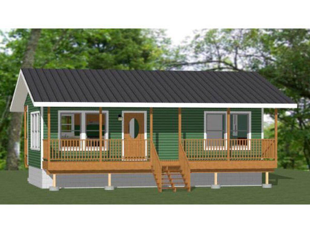 32x16 House Plans 1 Bedroom 1 Bath 512 sq ft PDF Floor Plan 3d