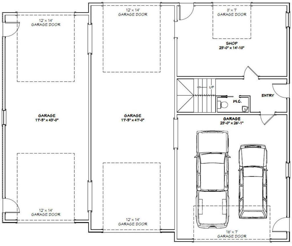 60x50 House Plans 2 Bedroom 2.5 Bath 1,694 sq ft PDF Floor Plan first floor