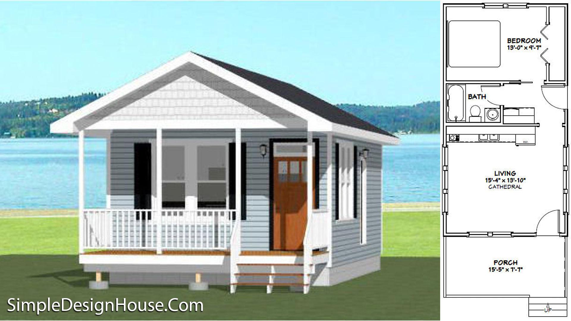 16×30 Tiny House Plans 1 Bedroom 480 sq ft PDF Plan