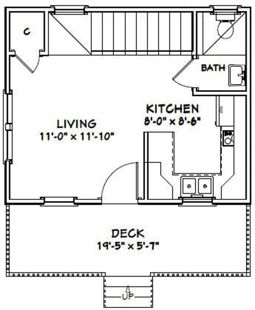 20x16 House Plan 1 Bedroom 1.5 Bath 537 sq ft PDF Floor Plan 3d