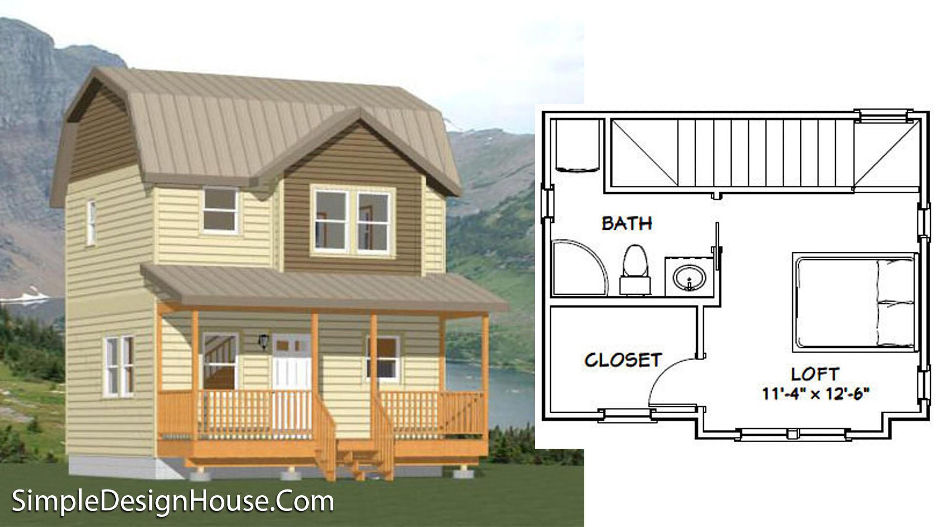 20×16 House Plan 1 Bedroom 1.5 Bath 537 sq ft PDF Floor Plan