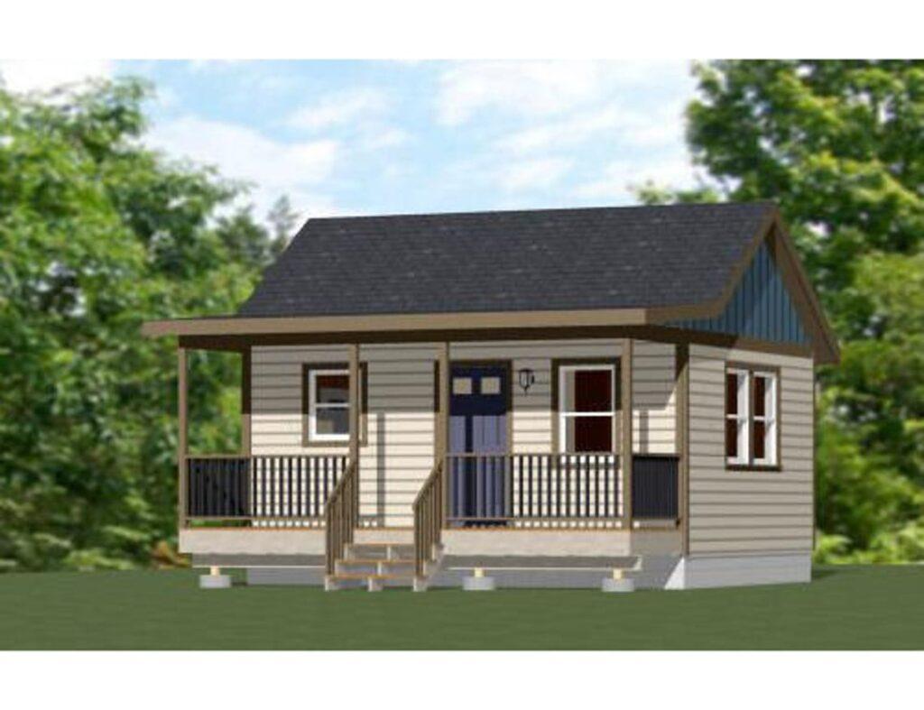 20x16 Tiny House Plan 1 Bedroom 1 Bath 320 sq ft PDF Plan