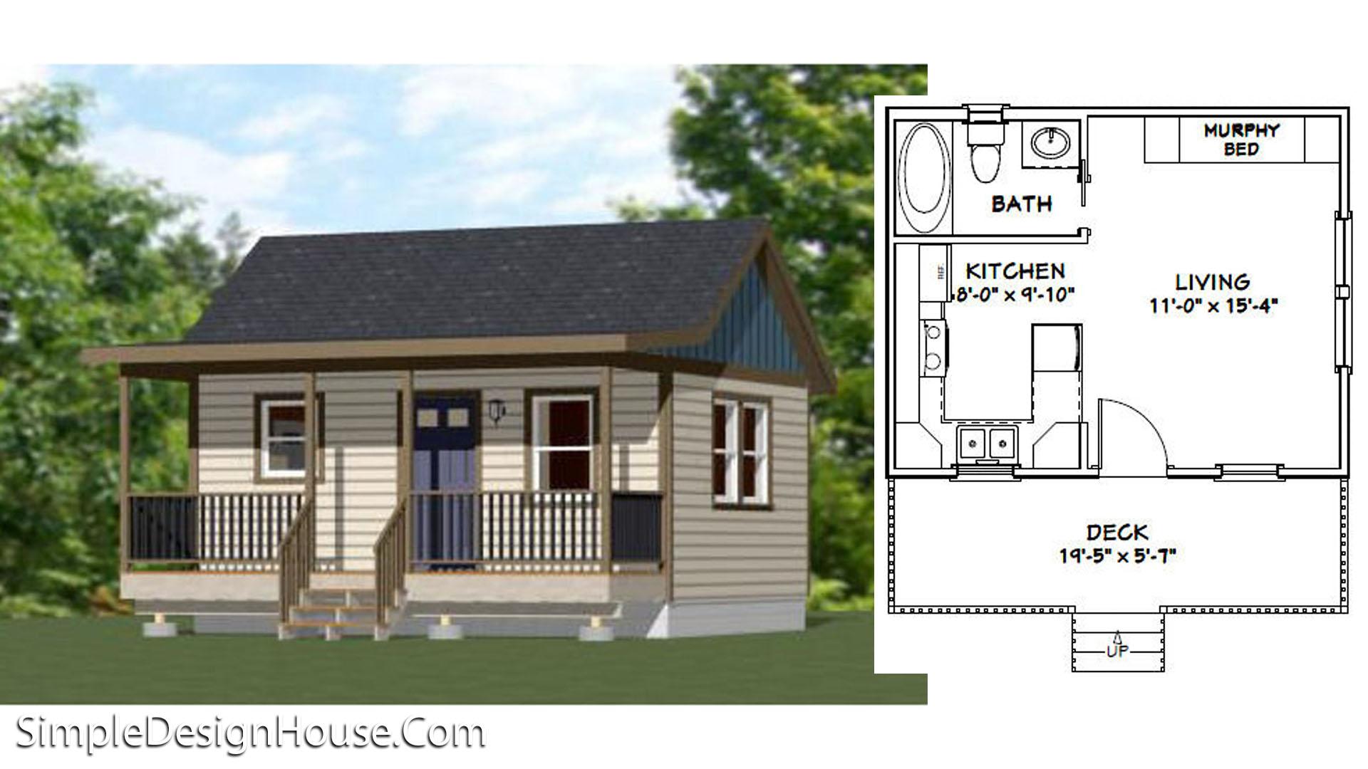 20×16 Tiny House Plan 1 Bed 320 sq ft PDF Plan