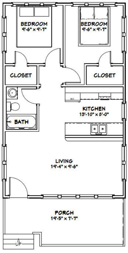20x32 Tiny House 2 Bedroom 1 Bath 640 sq ft PDF Floor Plan 1