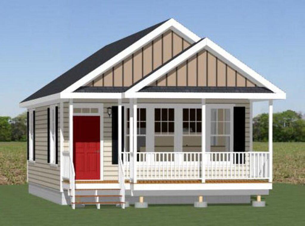 20x32 Tiny House 2 Bedroom 1 Bath 640 sq ft PDF Floor Plan 3d