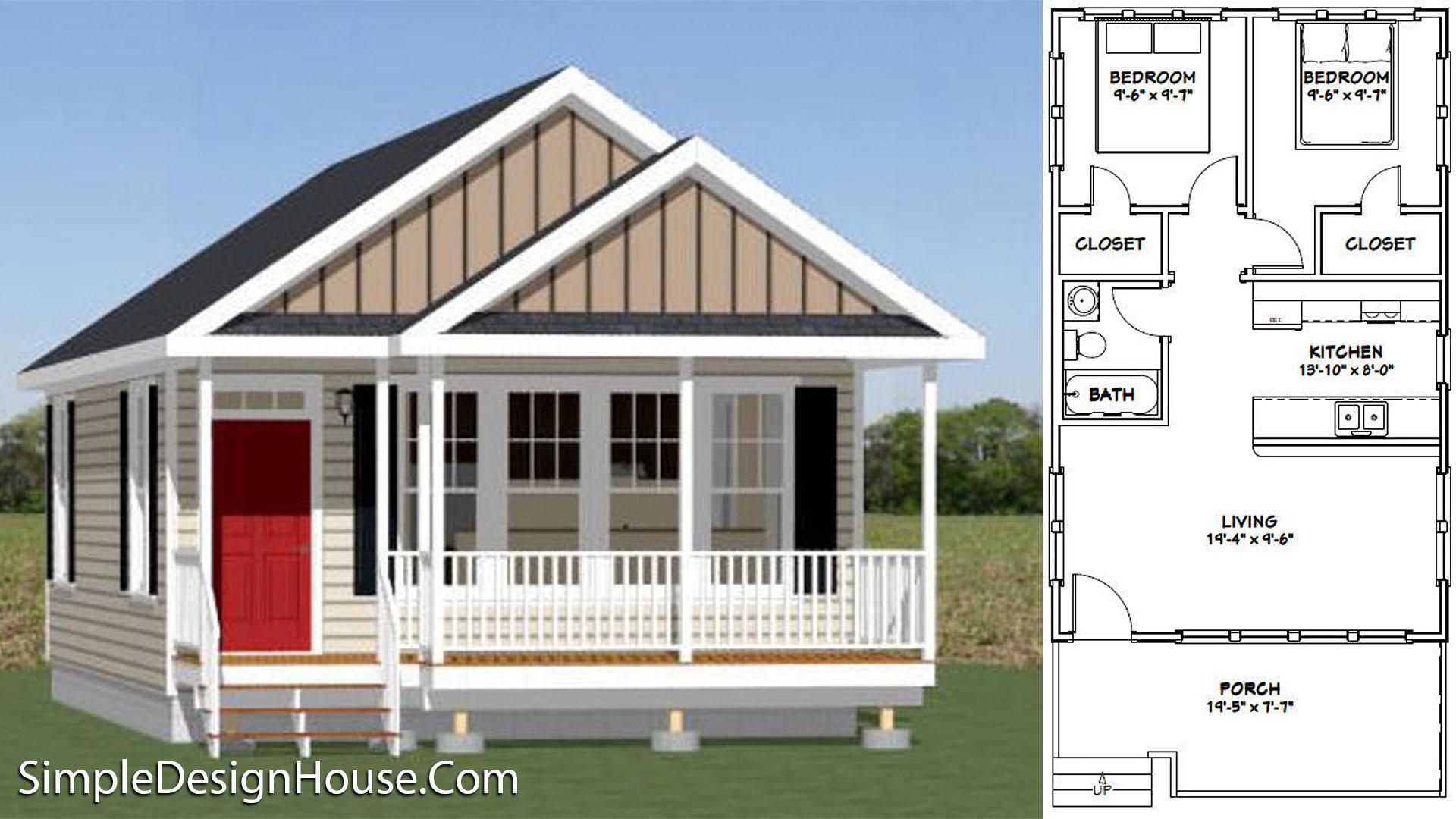 20×32 Tiny House 2 Beds 640 sq ft PDF Floor Plan