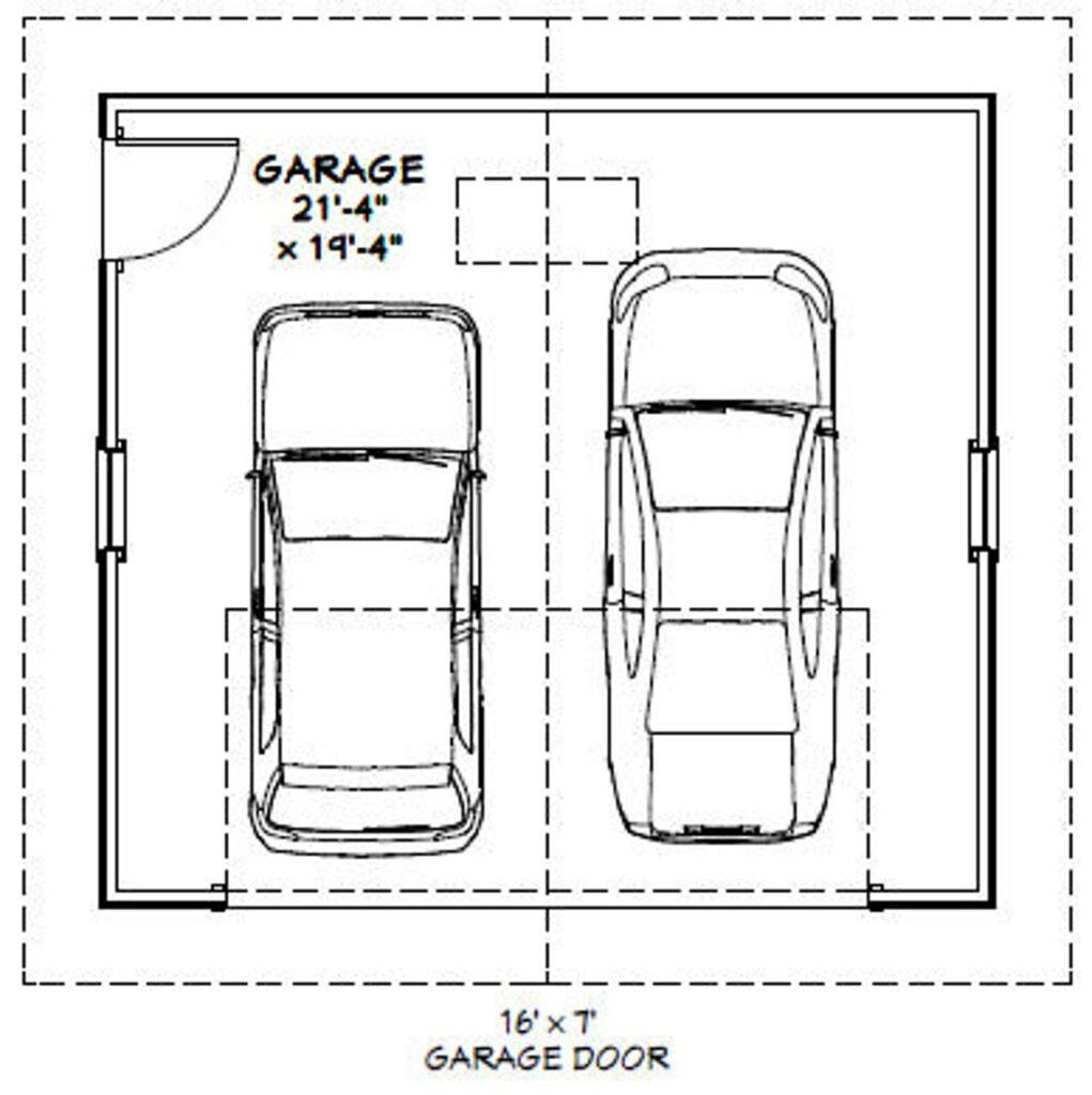 22x20 2 Car Garages 440 sq ft 8ft Walls PDF Floor Plan