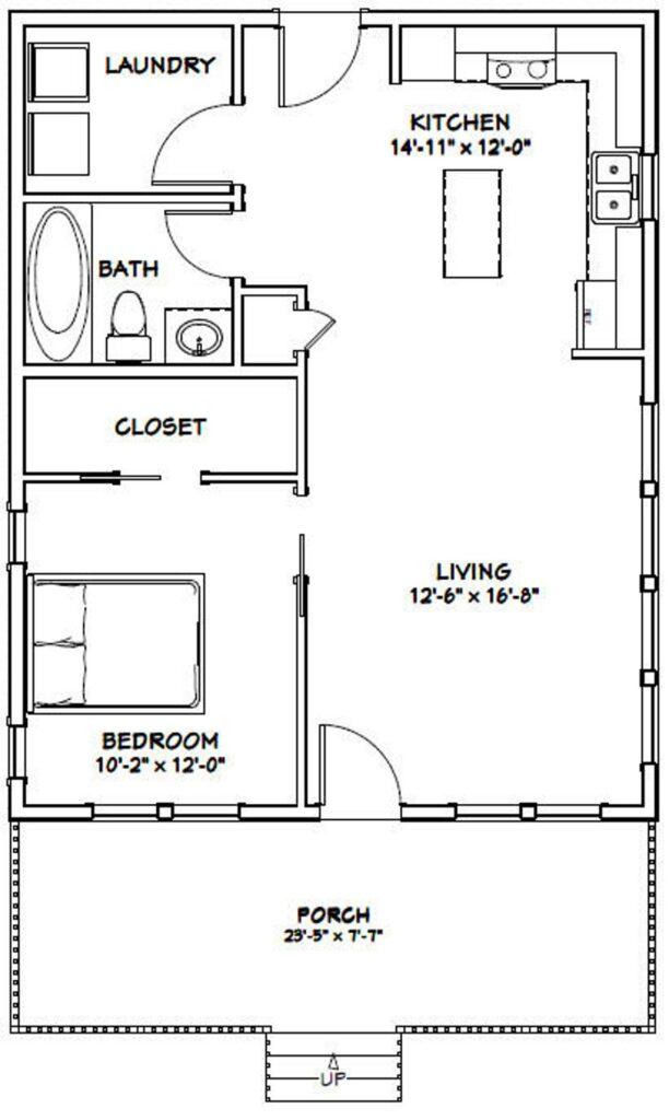 24x30 House Plan 1 Bedroom 1 Bath 720 sq ft PDF Floor Plan