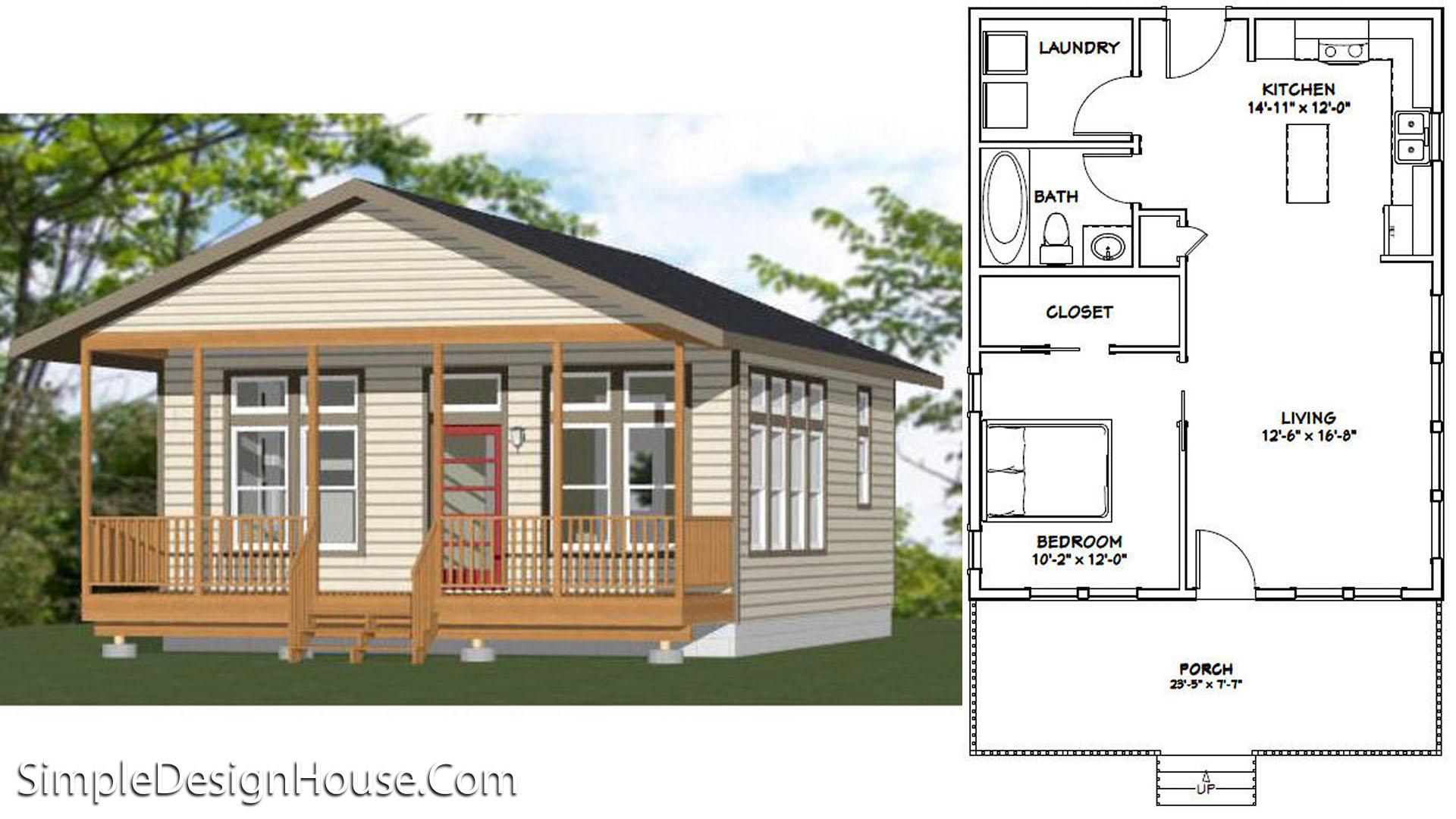 24×30 House Plan 1 Bed 720 sq ft PDF Plan
