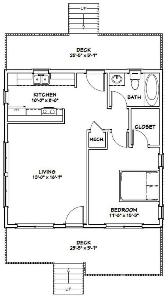 26x26 House plans 1 Bedroom 1 Bath 676 sq ft PDF Floor Plan