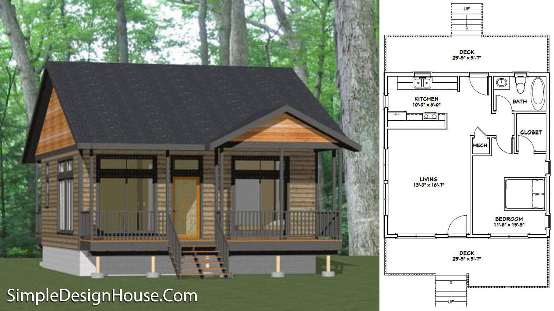 26×26 House Plans 1 Bedroom 676 sq ft PDF Floor Plan