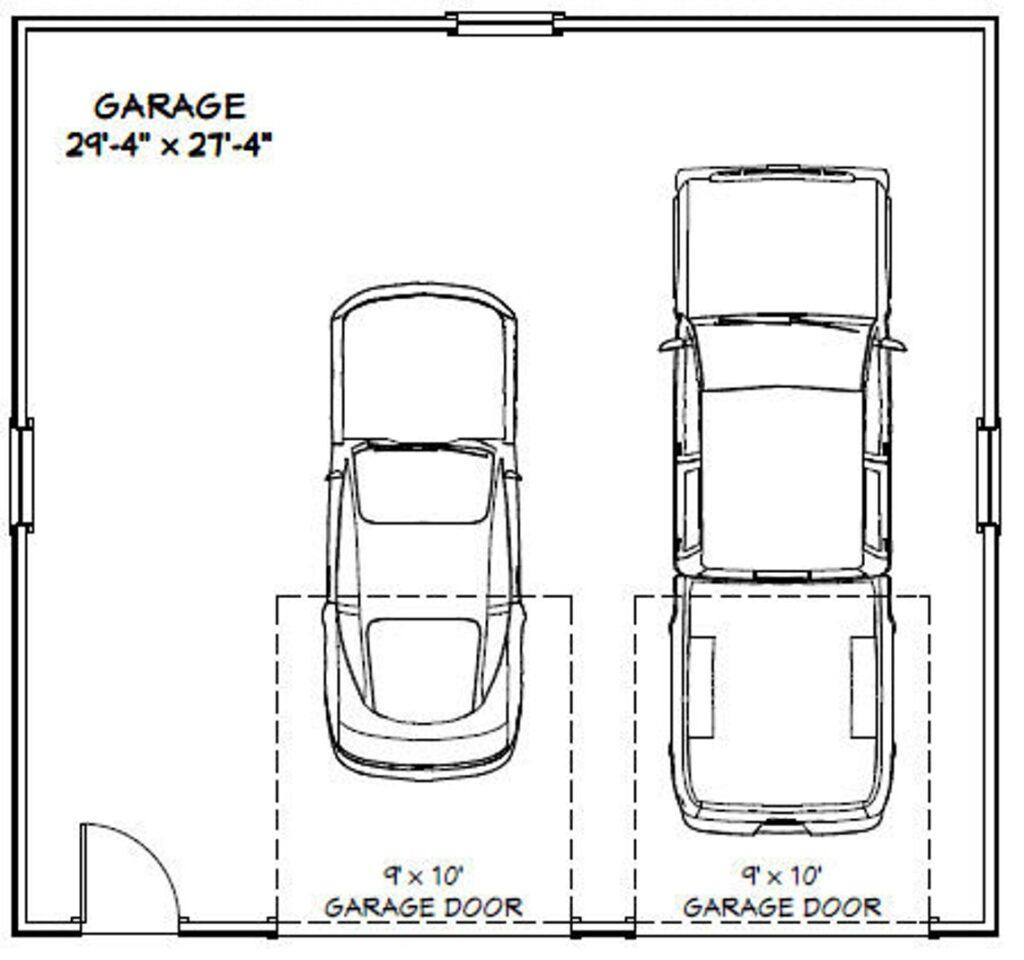 30x28 2 Car Garage 840 sq ft PDF Floor Plan