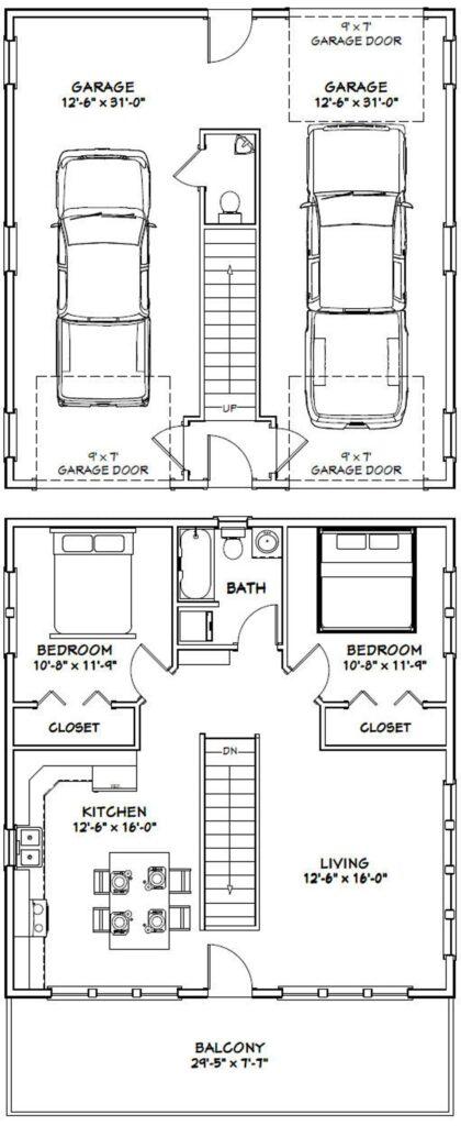 30x32 House 2 Bedroom 1.5 Bath 961 sq ft PDF Floor Plan 1