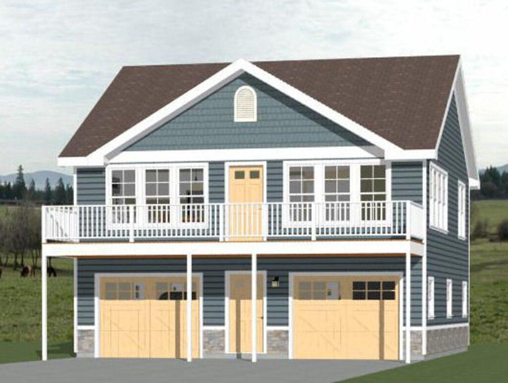 30x32 House 2 Bedroom 1.5 Bath 961 sq ft PDF Floor Plan 3d