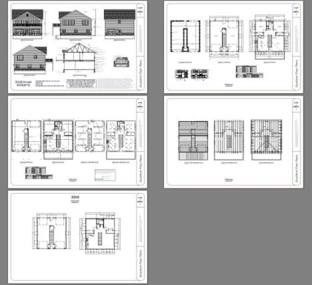 30x32 House 2 Bedroom 1.5 Bath 961 sq ft PDF Floor Plan all