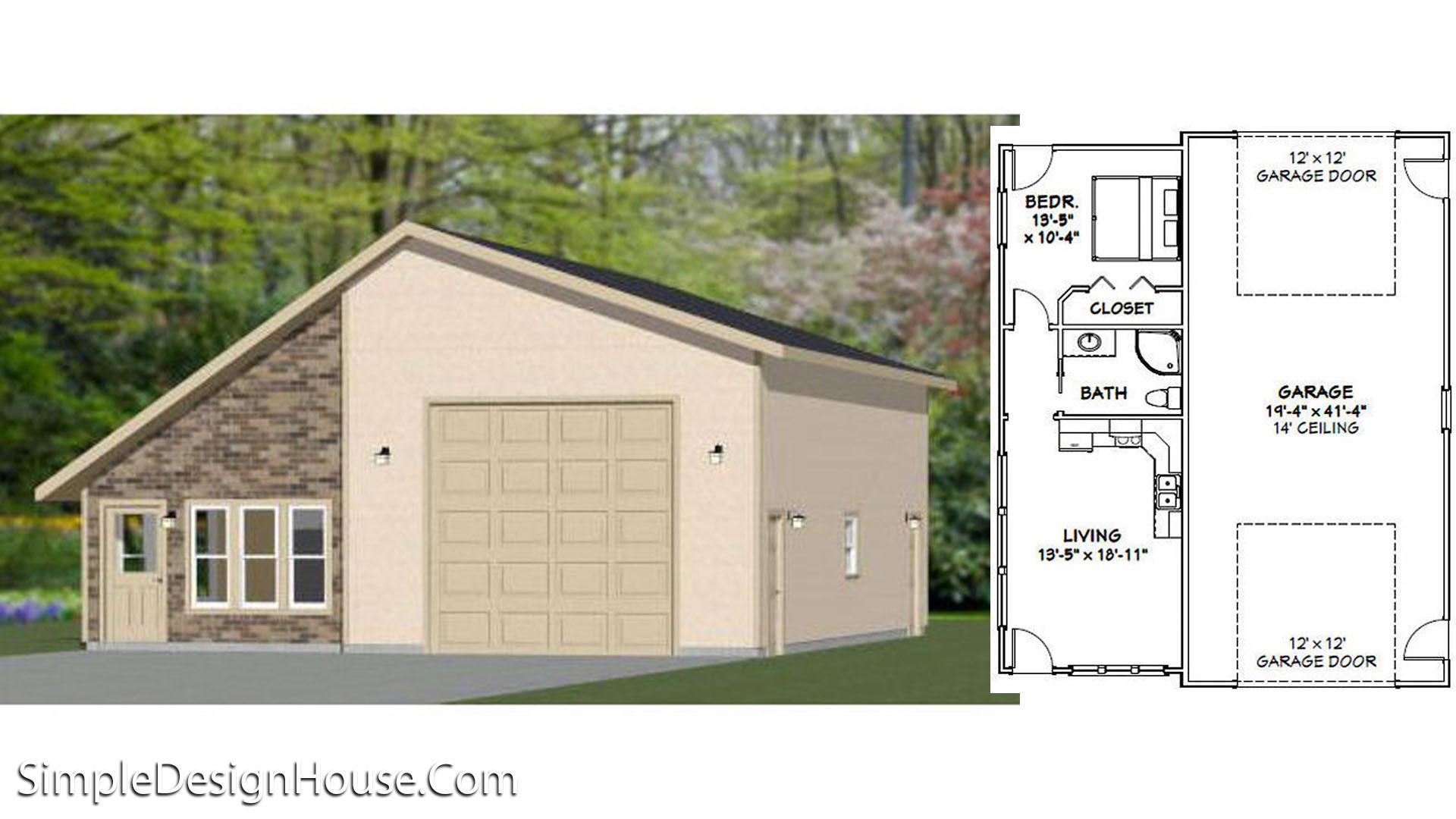 34×42 1 Garage 1 Bedroom 1,400 sq ft PDF Floor Plan