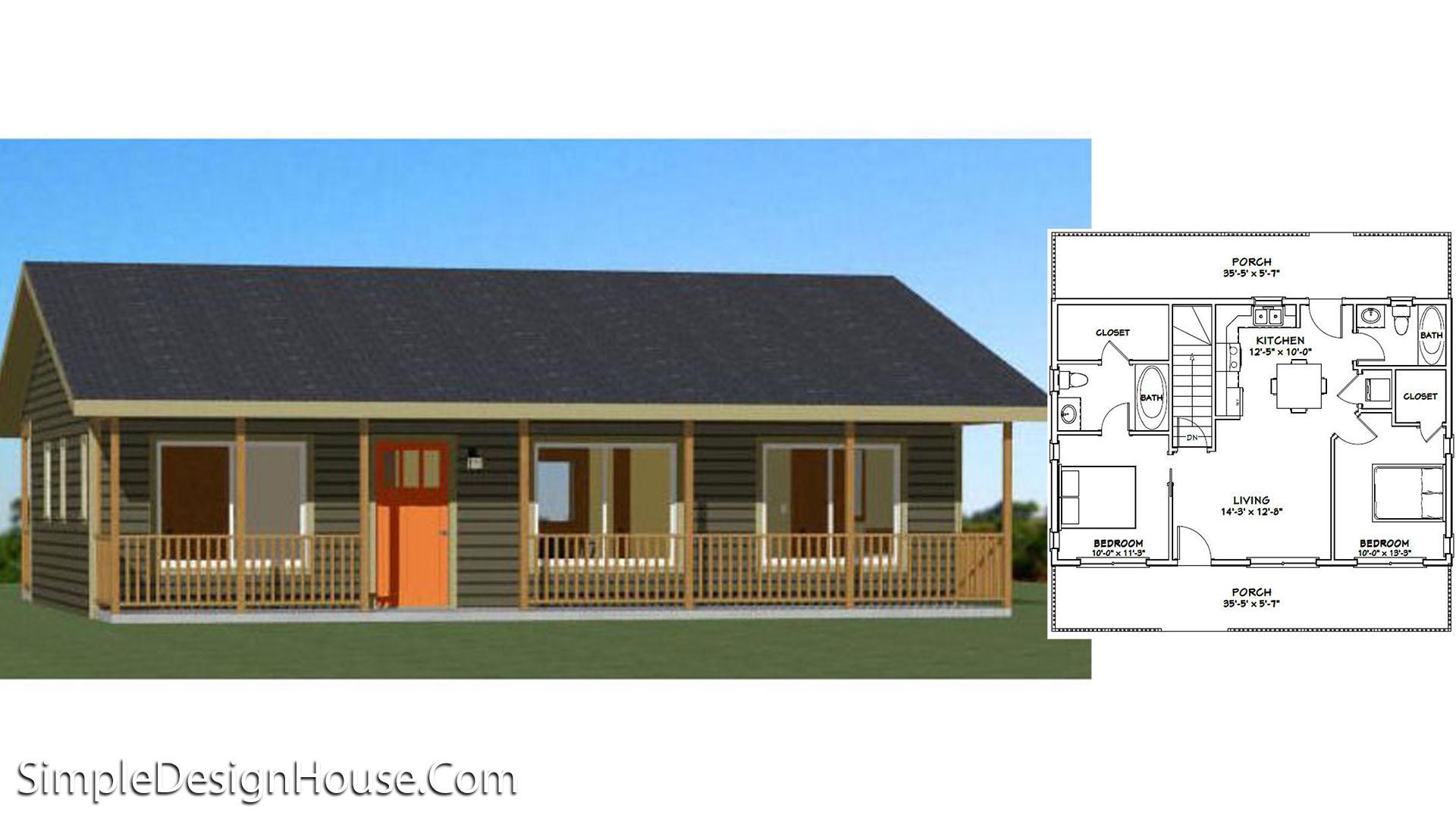 36×24 House Plan 2 Beds 812 sq ft PDF Floor Plan