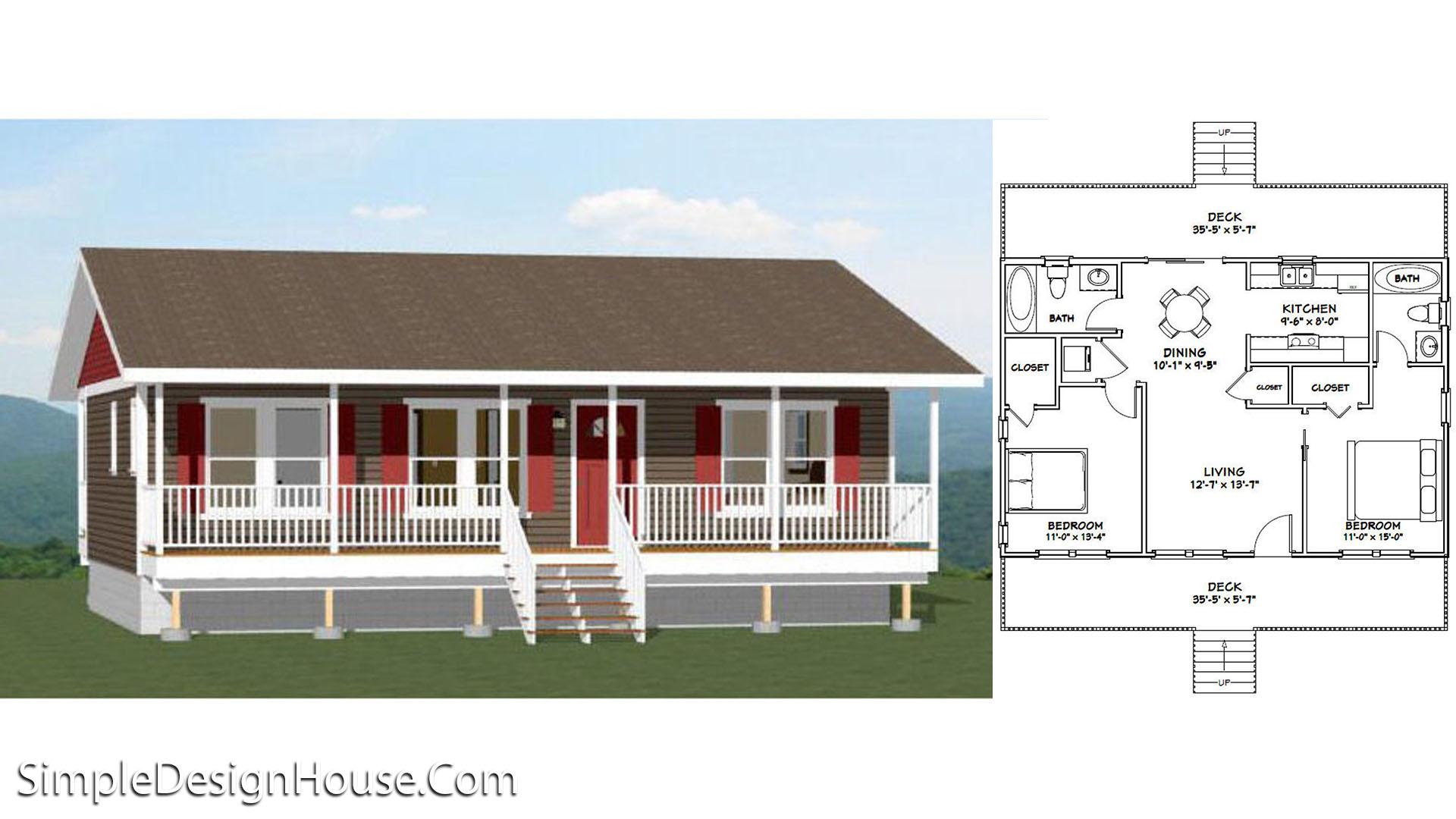 36×24 House 2 Bedroom 864 sq ft PDF Floor Plan