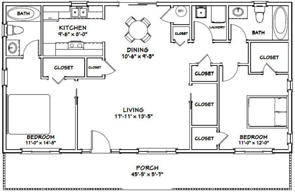 46x24 House Plan 2 Beds 1,104 sq ft PDF Floor Plan 1