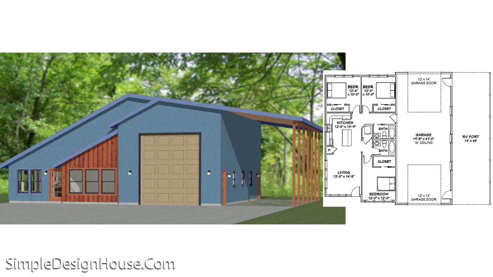 46×48 House Plans 3 Beds 1,157 sq ft PDF Floor Plan