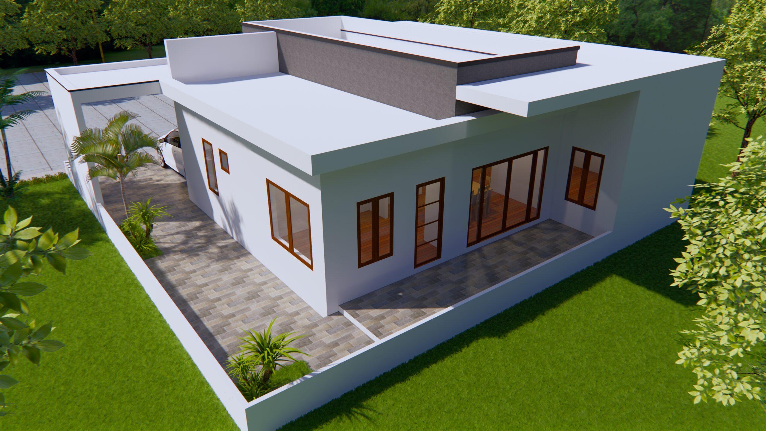 Modern House Plans 15x16 Meter 49x53 Feet 3 Beds