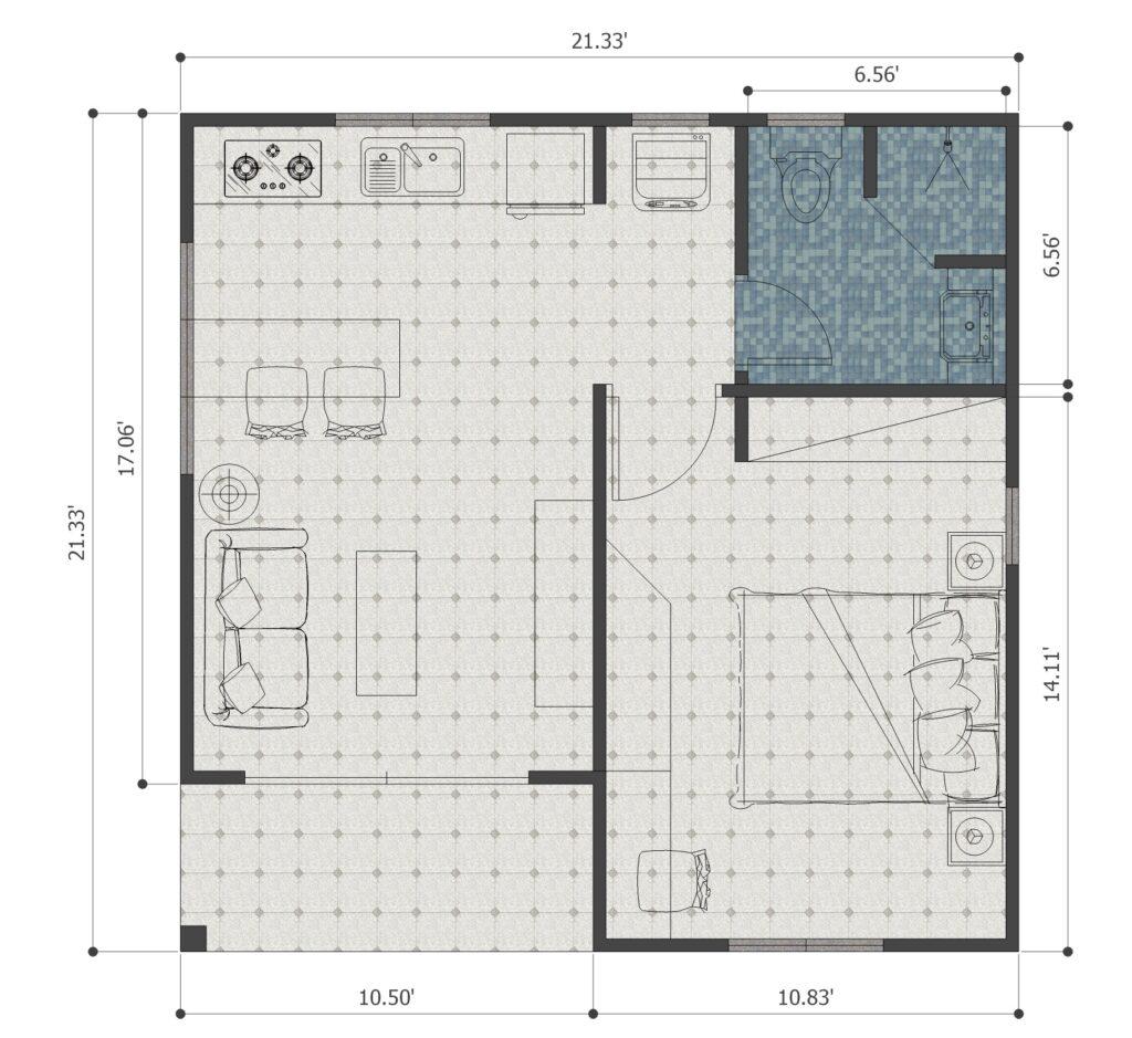 3 Simple House Plans 21x21 Feet 6.5x6.5m floor plan
