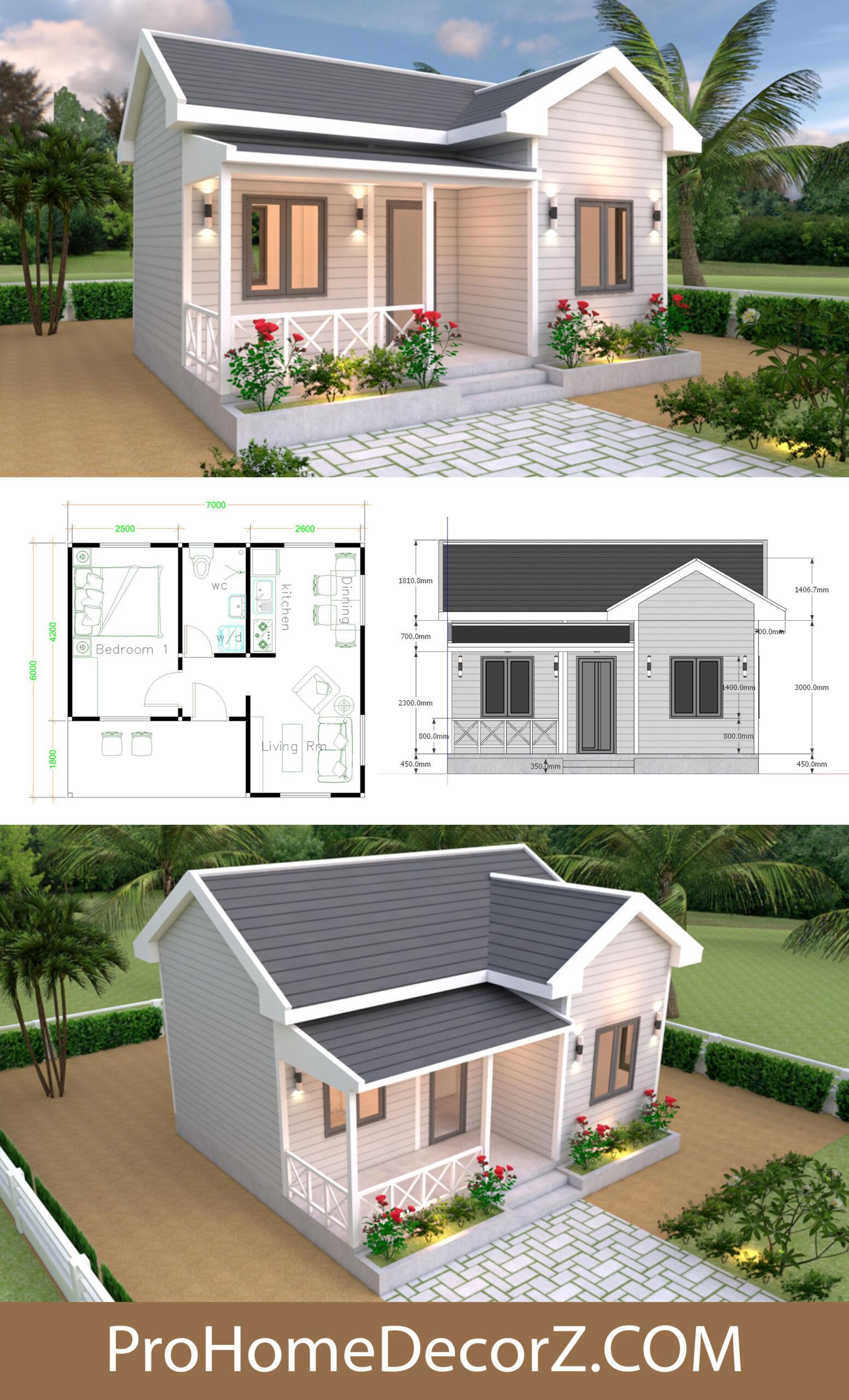 Gross gable Single Plans 7x6 Meters with Floor Plan