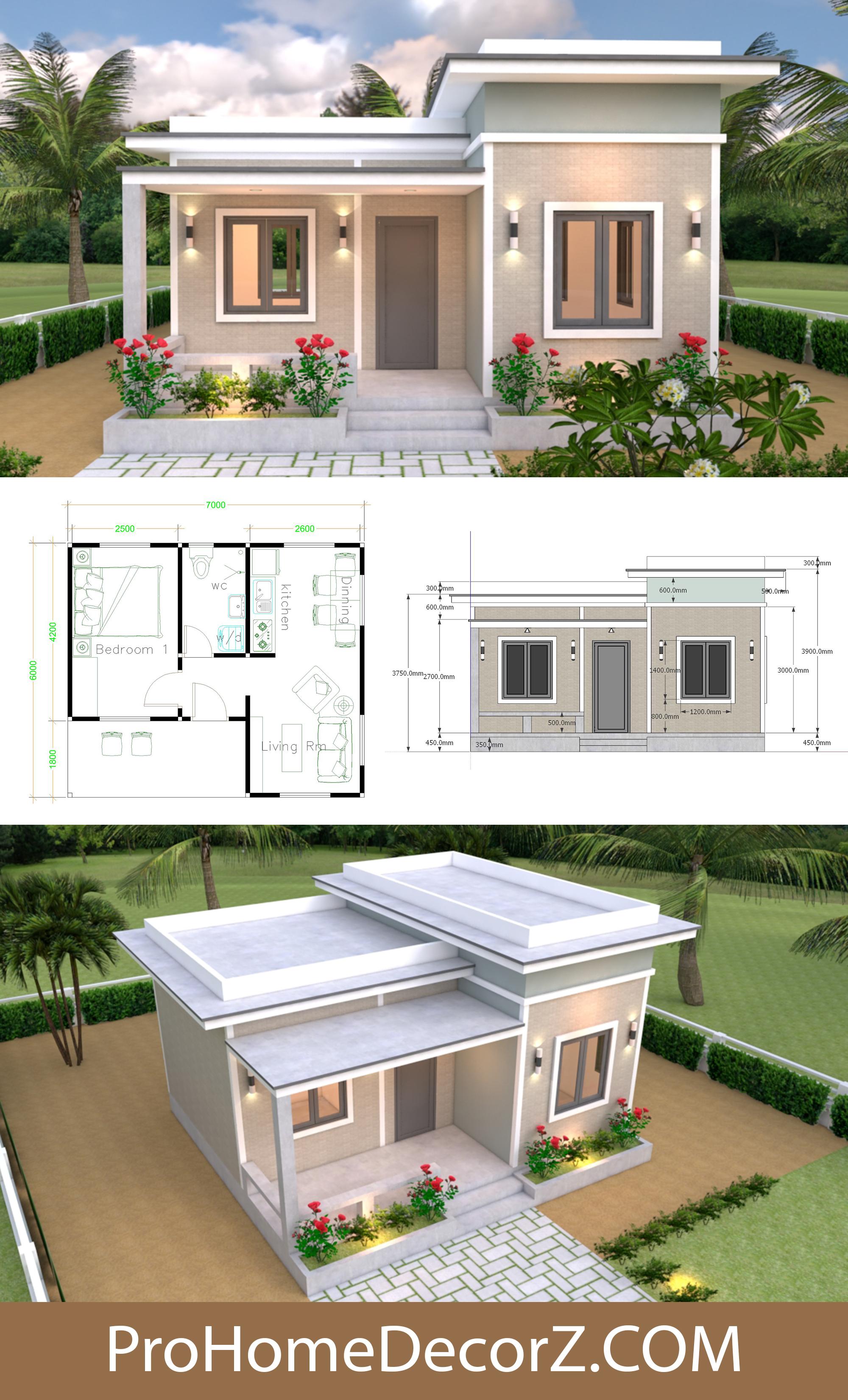 Flat roof Single Plans 7x6 Meters with Floor Plan