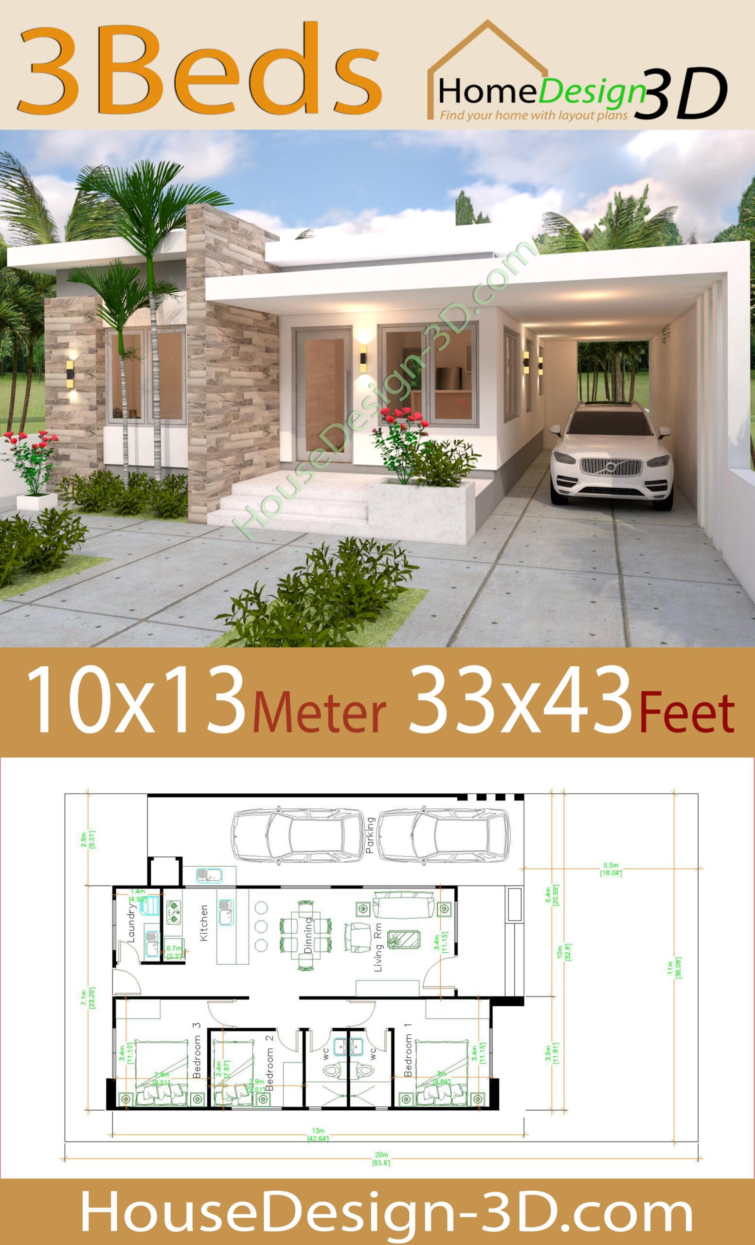 Modern House Design 33x33 feet with Floor Plan