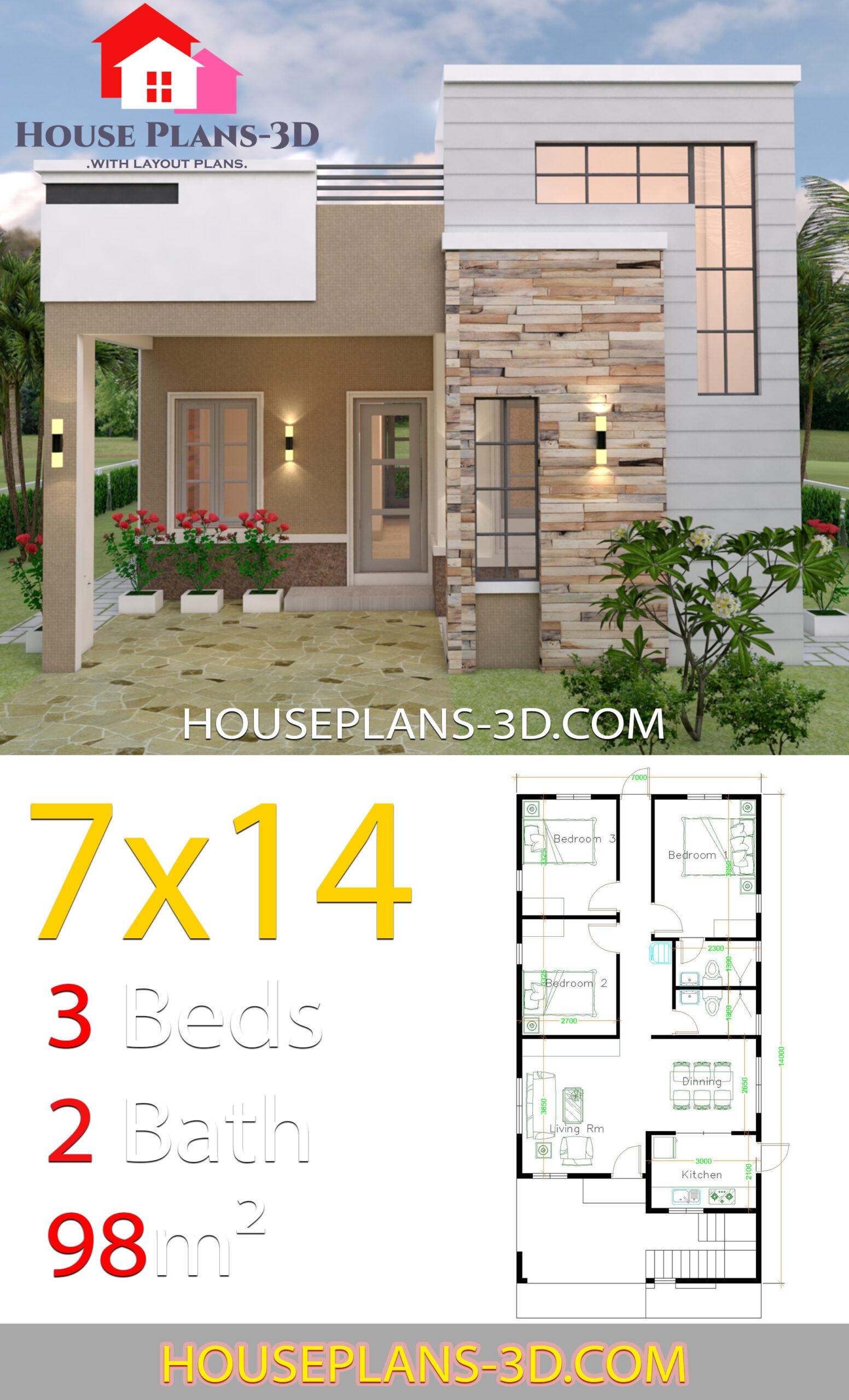 Best 3 Bedrooms House with floor plan 7m