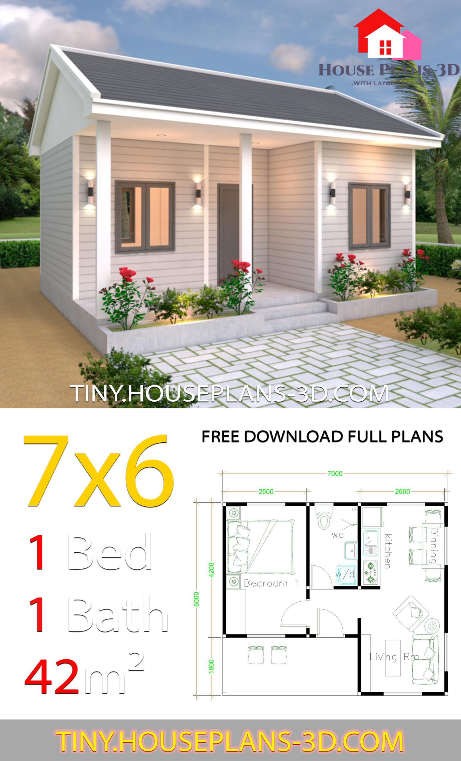 Gable roof Best Single Plans 7x6 Meters with Floor Plan