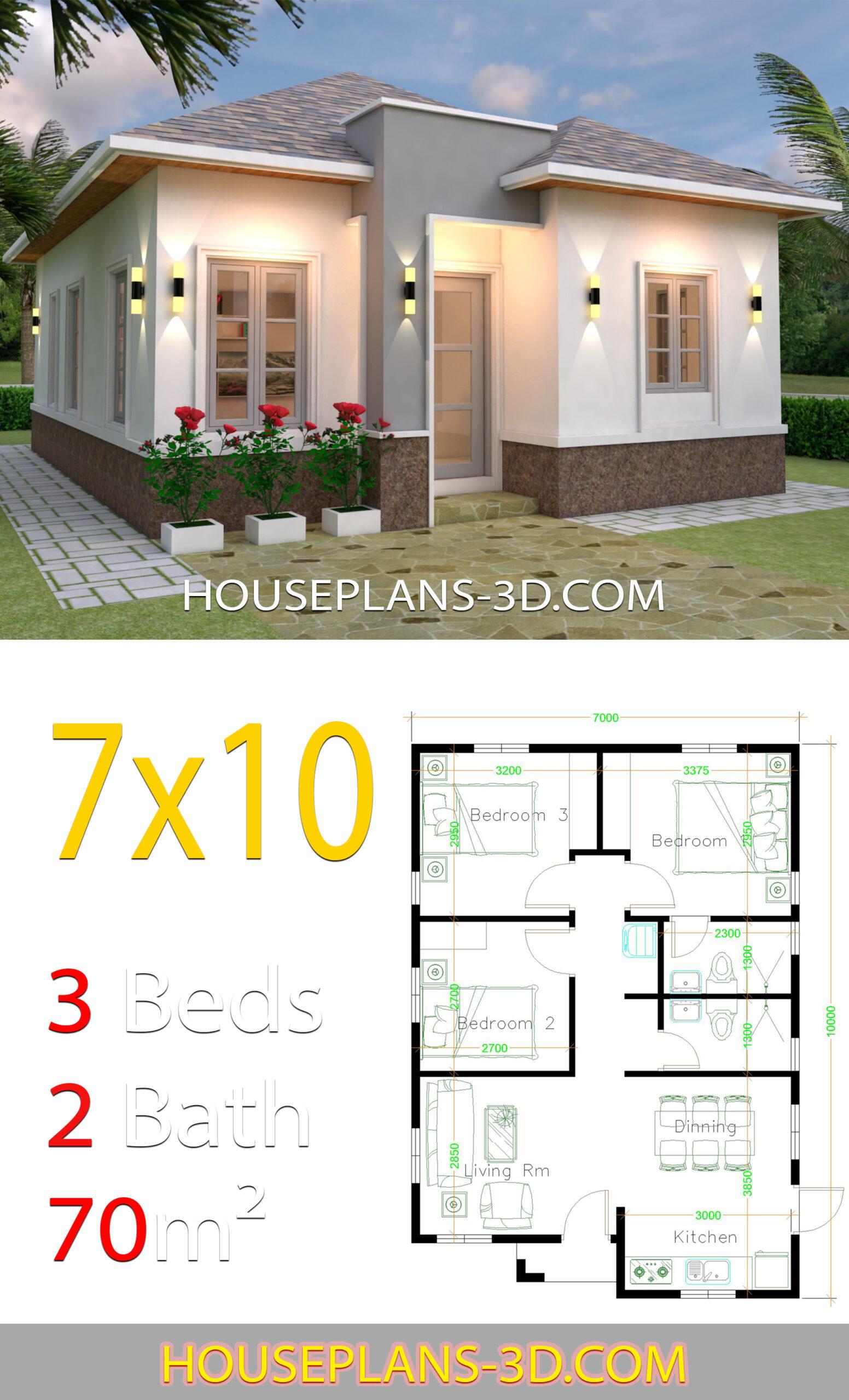 Hip roof Best 3 Bedrooms House with floor plan 7m