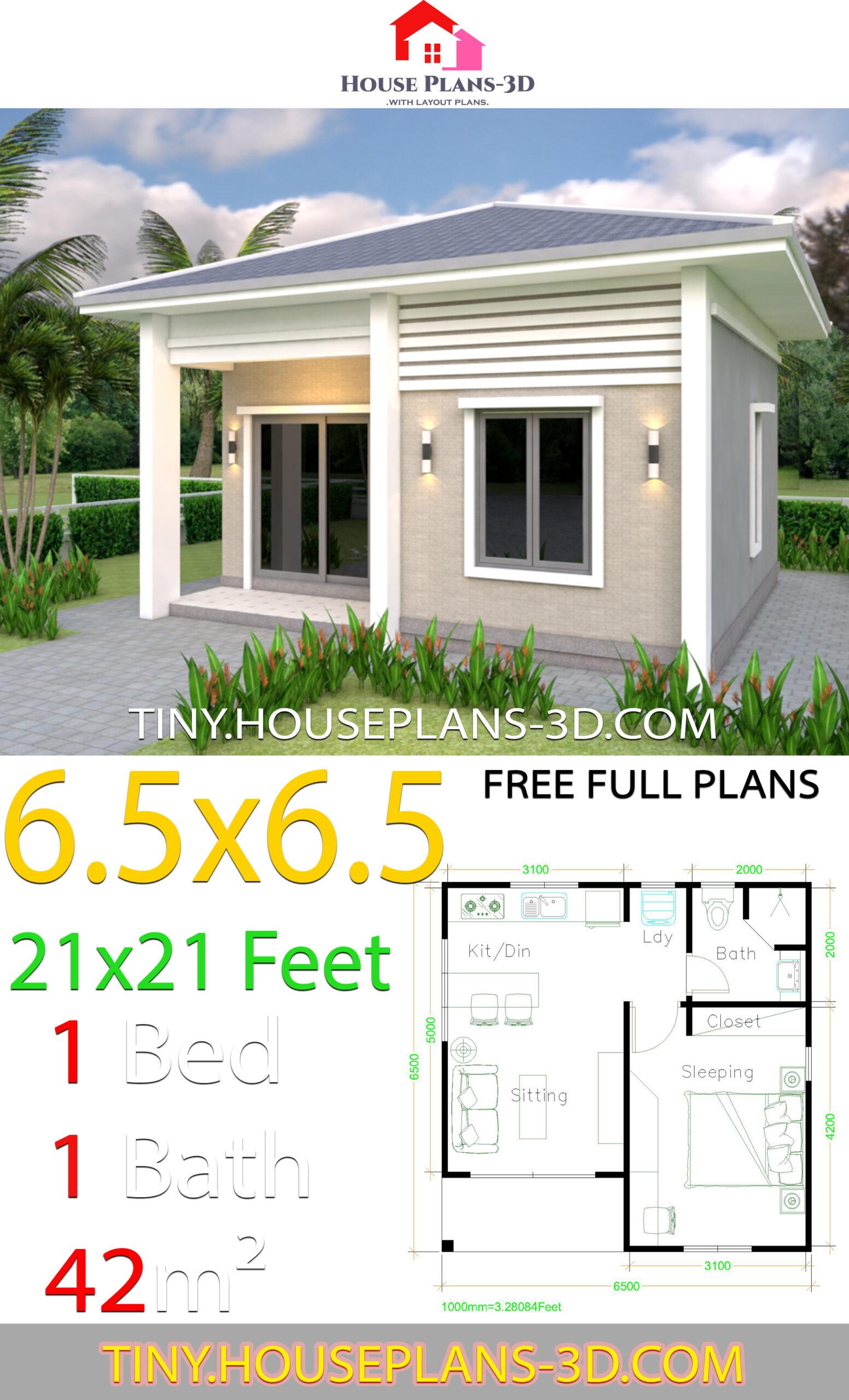 Hip roof Simple House Plans 21x21 Feet 6.5x6.5m