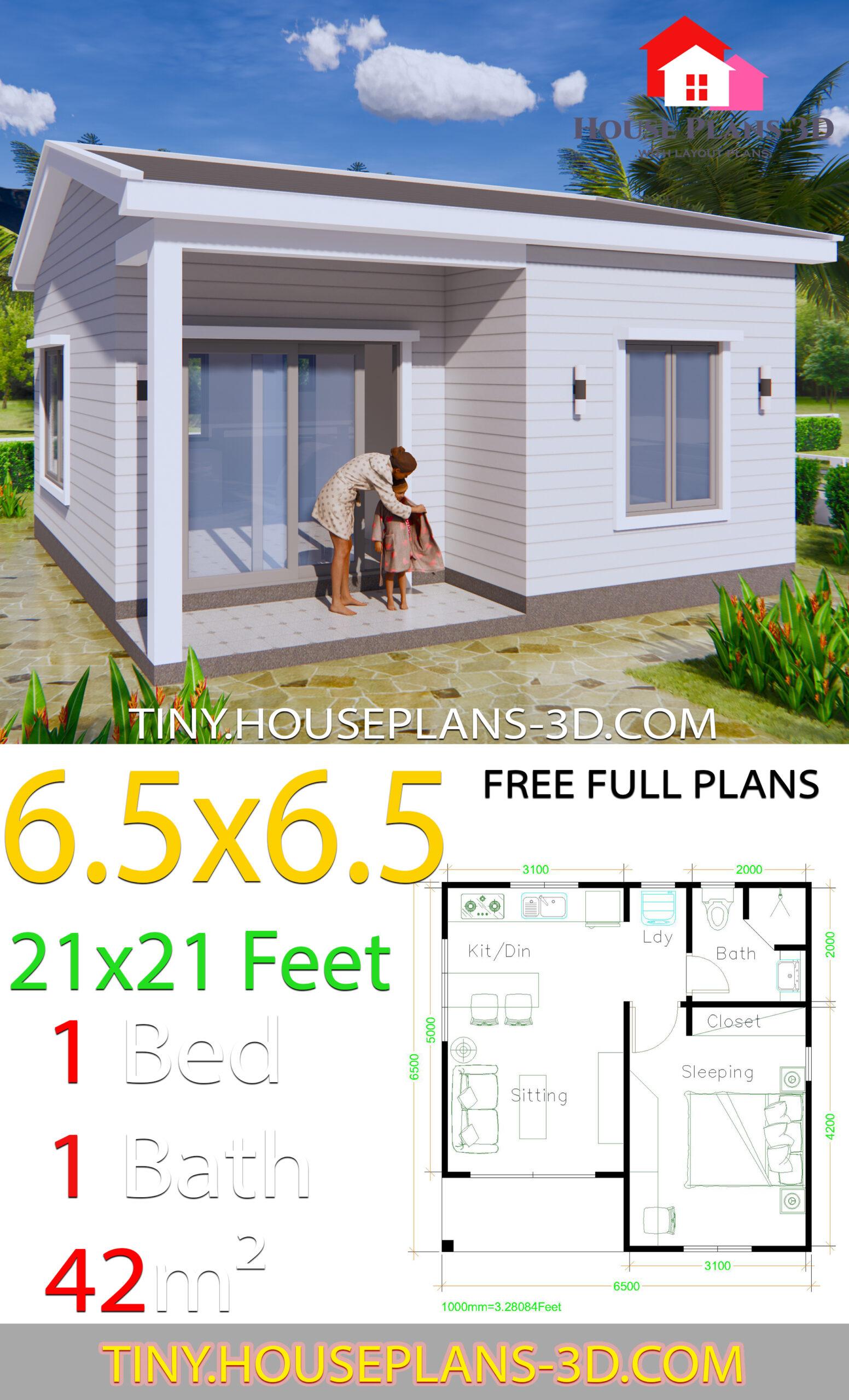 Gable roof Simple House Plans 21x21 Feet 6.5x6.5m