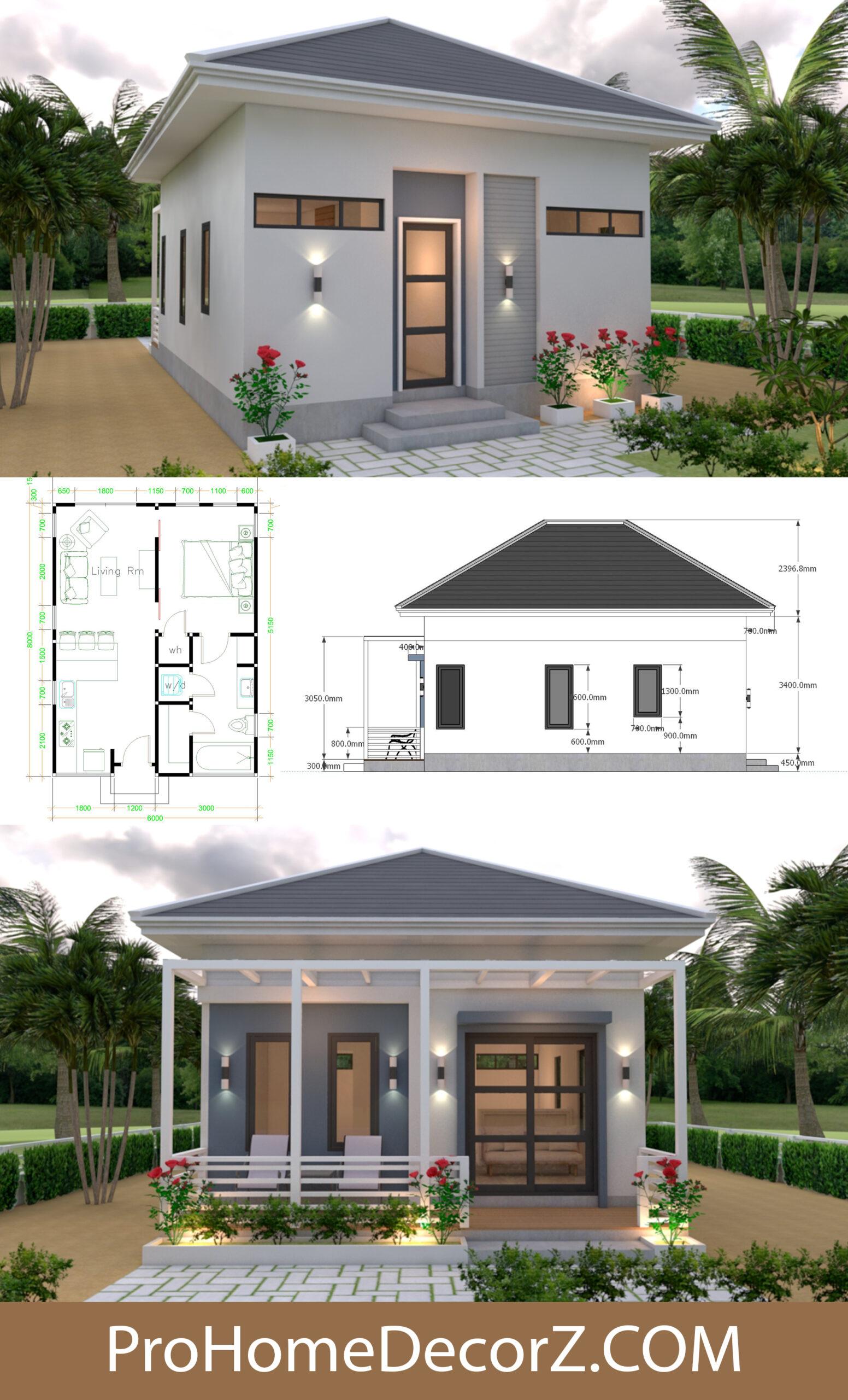 Hip roof Beautiful Studio House 6x8 with Floor Plans